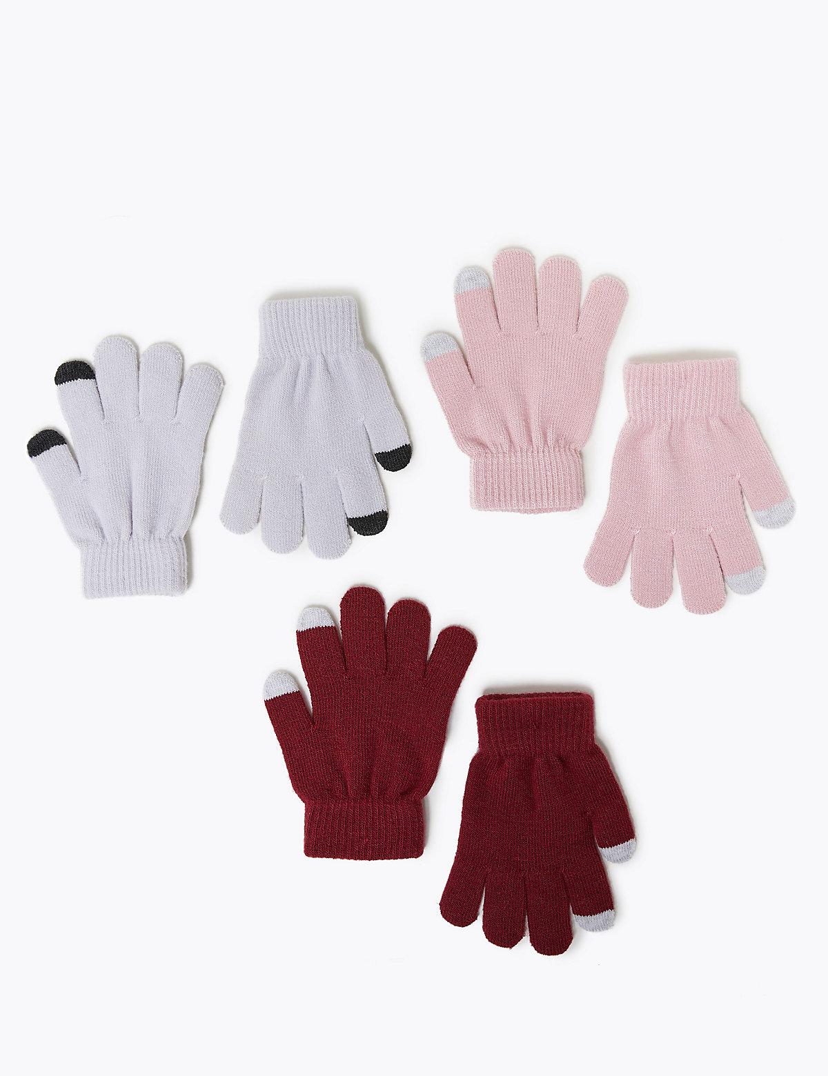 Перчатки для девочки с функцией Touchscreen (3 пары)