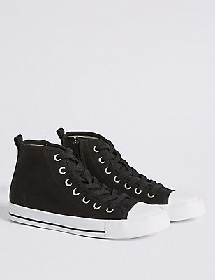 Kids'  High Top Casual Trainers, BLACK, catlanding