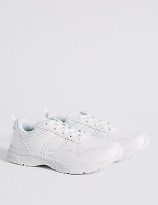 Kids' Basic Lace Trainers, WHITE, catlanding
