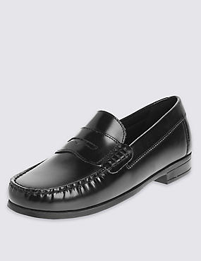 Kids' Freshfeet™ Leather Penny Loafers with Insolia Flex®, BLACK, catlanding
