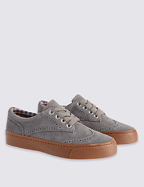 Kids Suede Brogue Shoes with Water Repellent Finish, GREY, catlanding