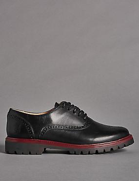 Kids' Lace-up Brogue Shoes, BLACK, catlanding