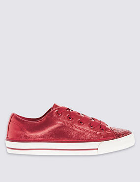 Kids' Low Top Sparkle Trainers, RED, catlanding