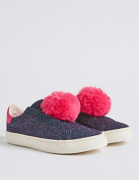 Kids' Pom-pom Glitter Fashion Trainers, MULTI, catlanding