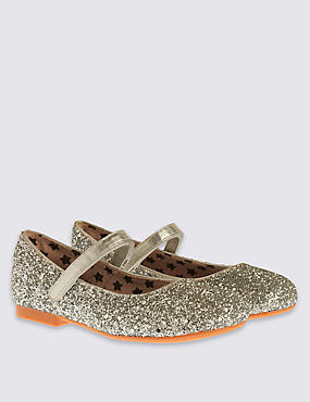 Kids' Glitter Embellished Cross Bar Riptape Shoes, SILVER, catlanding