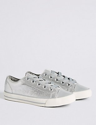 Kids' Sparkle Lace-up Trainers, SILVER, catlanding