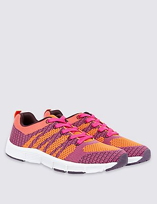 Kids' Knitted Sports Trainers, PINK MIX, catlanding