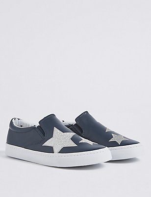Kids' Slip-on Star Print Trainers, NAVY, catlanding