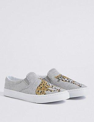 Sneakers met luipaardmotief voor kinderen, MULTI, catlanding