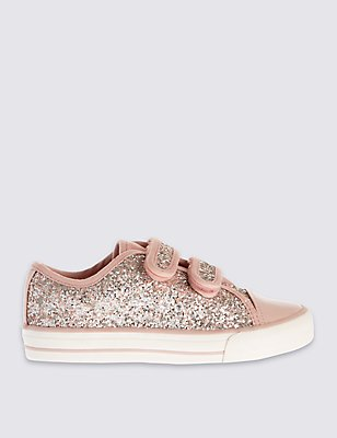 Kids' Sparkle Low Top Trainers, PALE PINK MIX, catlanding