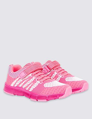 Kids' Riptape Sports Trainers, PINK MIX, catlanding