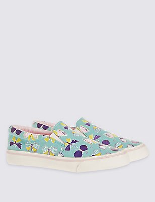 Kids' Butterfly Print Trainers, MULTI, catlanding