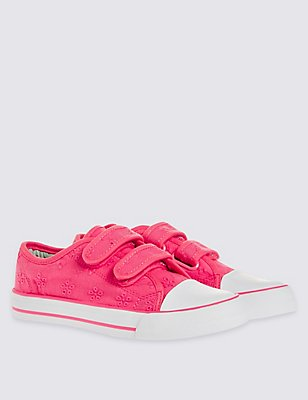 Kids' Broderie Low Top Trainers, PINK, catlanding