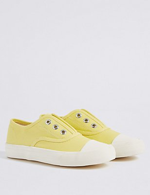 Kids' Laceless Trainers, YELLOW, catlanding