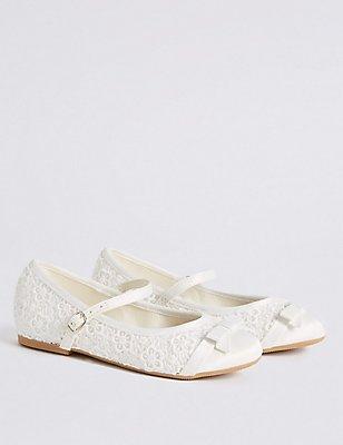 Kids' Ballerina Bridesmaid Shoes, IVORY, catlanding