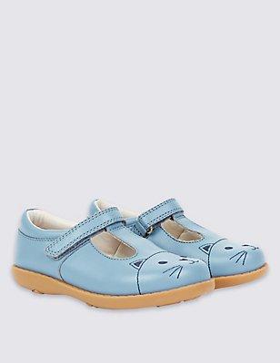 Kids' Leather T-Bar Shoes, BLUE, catlanding