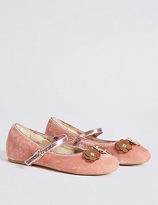 Kids' Sequin Flowers Ballerina Shoes, BLUSH, catlanding