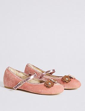Kids' Sequin Flowers Ballerina Shoes, BLUSH, catlanding