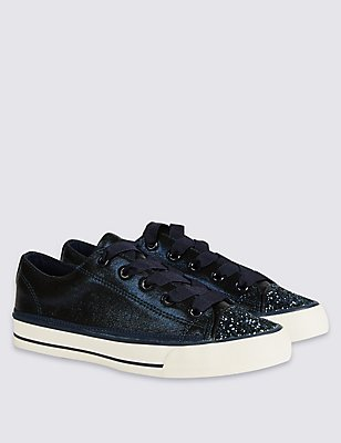 Kids' Sparkle Lace-up Trainers, NAVY, catlanding