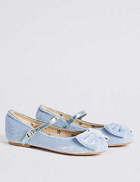 Kids' Velvet Bow Ballerina Shoes, BLUE, catlanding