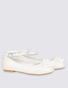 Kids' Glitter Ballerina Bridesmaid Shoes, IVORY, catlanding
