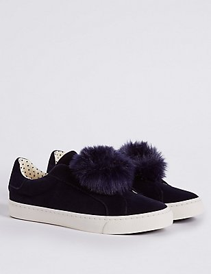 Kids' Pom Pom Slip-on Fashion Trainers, NAVY, catlanding