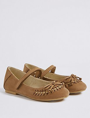 Kids' Leather Ballerina Shoes , TAN, catlanding