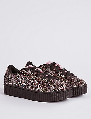 Kids' Lace-up Glitter Chunky Trainers, GOLD, catlanding