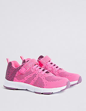 Kids' Riptape Knitted Sports Trainers, PINK MIX, catlanding