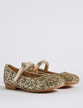 Kids' Gold Glitter Cross Bar Shoes, GOLD, catlanding