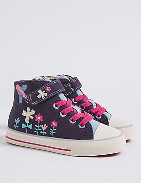 Kids' Embroidered High Top Fashion Trainers, DENIM MIX, catlanding