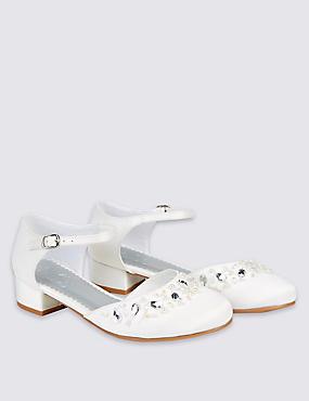 Kids' Cross Bar Bridesmaid Shoes, IVORY, catlanding