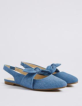 Kids' Slingback Bow Shoes, DENIM MIX, catlanding