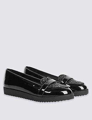 Kids' Heart Sparkle Loafers, BLACK, catlanding