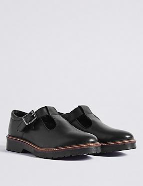 Kids' Leather T-Bar Shoes, BLACK, catlanding
