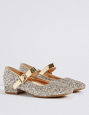 Kids' Buckle Glitter Cross Bar Shoes, GOLD, catlanding