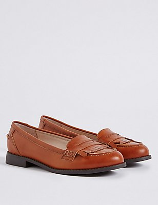 Kids' Leather Loafers, TAN, catlanding