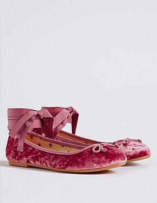 Kids' Velvet Bow Ballerina Shoes, PINK, catlanding