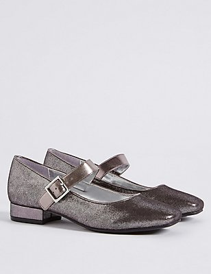 Kids' Buckle Cross Bar Shoes, PEWTER, catlanding