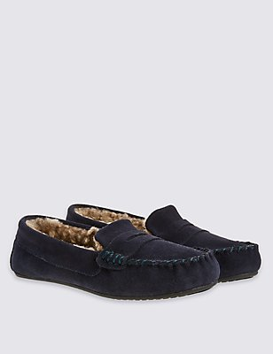 Kids' Pull On Moccasin Slippers, NAVY, catlanding