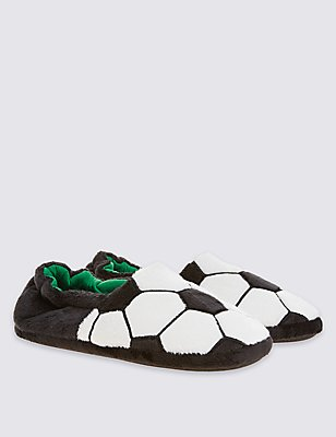 Kids' Football Slippers, BLACK/WHITE, catlanding