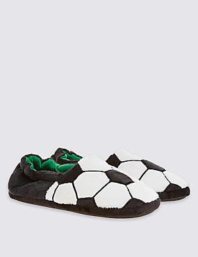 Kids' Football Slippers, BLACK/WHITE, catlanding
