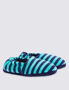 Kids' Striped Slippers, GREEN MIX, catlanding
