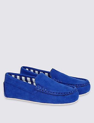 Kids' Moccasin Slippers, NAVY, catlanding