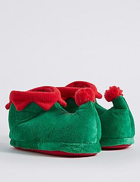 Kids' Elf Slipper, GREEN MIX, catlanding