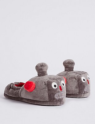 Kids' Robot Slippers, GREY, catlanding