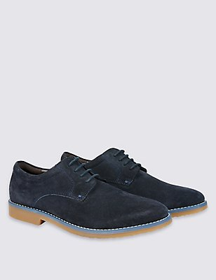 Kid's Leather Derby Lace-up Shoes, NAVY, catlanding