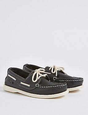 Kids' Leather Slip-on Shoes, NAVY, catlanding