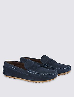 Kids' Water Repellent Suede Slip-on Shoes, NAVY, catlanding