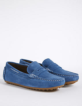 Kids' Suede Driving Shoes , COBALT, catlanding